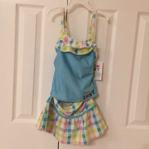 Kids swim suit, tankini plus skirt cover up